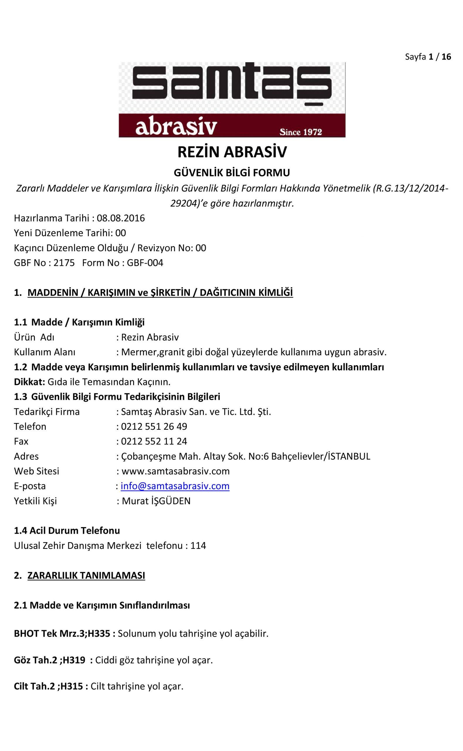 Резин Абрасов МСДС